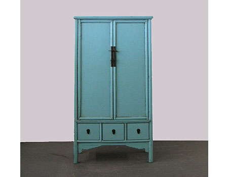 A large Chinese light blue lacquered round corner cabinet with splayed legs